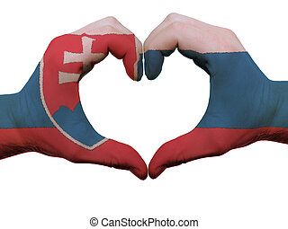 Gesture made by slovakia flag colored hands showing symbol...