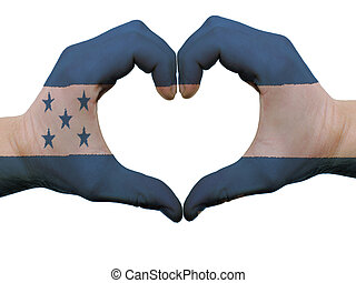 Gesture made by honduras flag colored hands showing symbol...