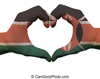 Gesture made by kenya flag colored hands showing symbol of...