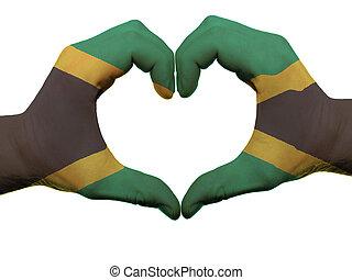 corazón, amor, gesto, jamaica, bandera, colores,...