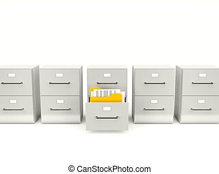 Archive cabinet with folders isolated on white