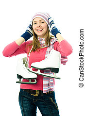 hermoso, joven, mujer, Va, Hielo-patinaje