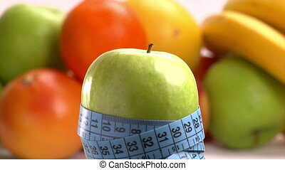 Apple and blue meter Healthy eating, weight loss concept