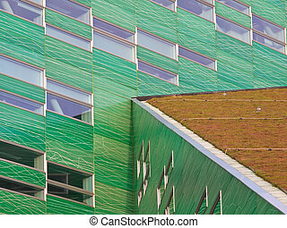 modern building with a sedum roof - Detail of a modern...