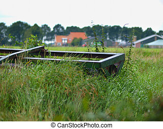 Land roller in agricultural rural landscape