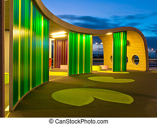 Green colored waiting area of a busstation