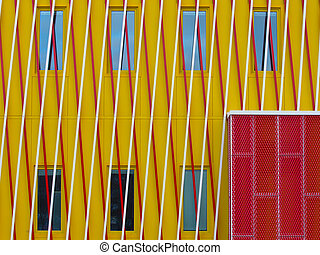 Yellow wall with modern braiding pattern
