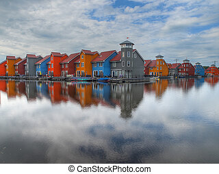 colorful houses on waterfront
