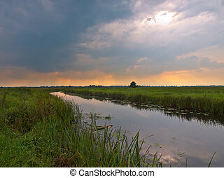 Dutch lowland river just before a summer storm