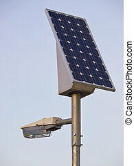 solar powered lamp post under blue sky