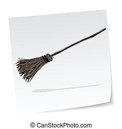 halloween message, witch broom - a note with hand-drawn...