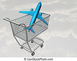Airtravel Shopping - Jet Aircraft in Shopping Cart
