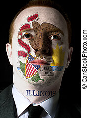 High key portrait of a serious businessman or politician whose face is painted in american state of illinois flag