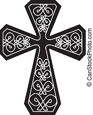 Black and White Cross - black and white cross tribal design