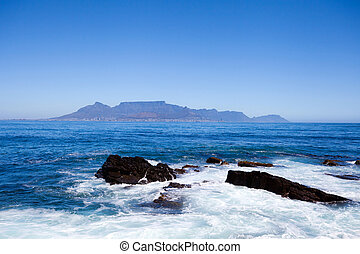 table mountain view from Robben Island