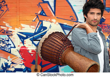 Guy with African drum