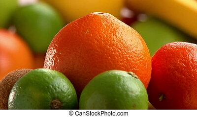 Fruits, citrus, rotate.