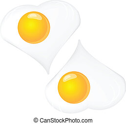 Scrambled eggs, two on a white background. Vector...