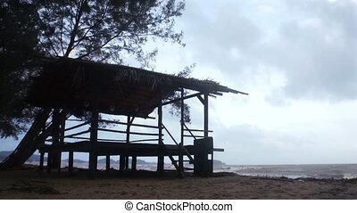 Fisherman Shelter - Fisherman shelter with background of...