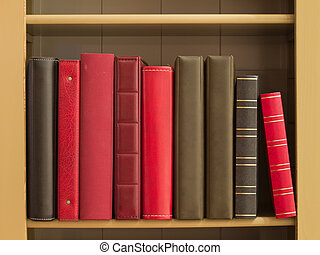 Books in a bookshelf as a background
