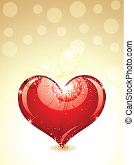 abstract glossy heart with gold background vector...
