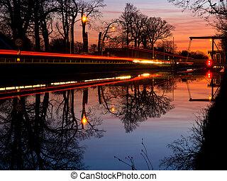 noche, imagen, puente levadizo