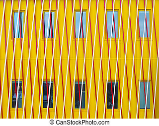 Abstract modern facade with diagonal patterns