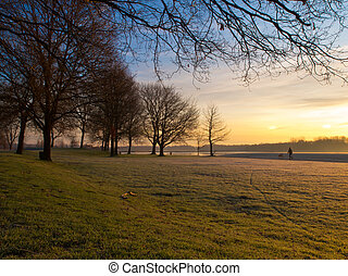 winter in dutch recreational area - Colorful sunrise in...