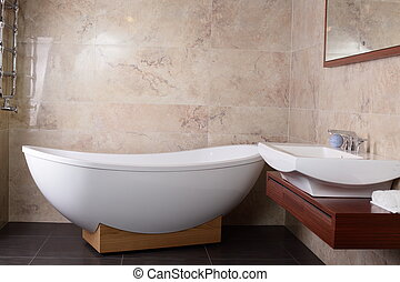 Bathroom interior - Interior of brand new bathroom with...