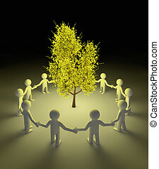 Protecting the tree - render of people protecting a glowing...