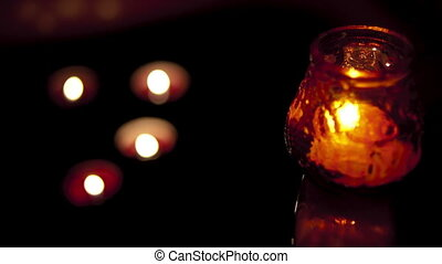 Candle with background lights