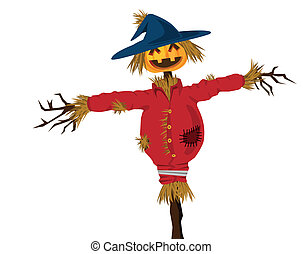 halloween scarecrow illustration, with evil grin.