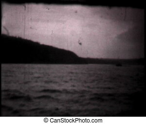 River views and landscapes, vintage b&w 8mm footage