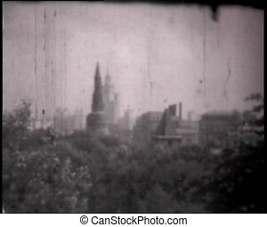 Montage of Moscow Kremlin clips, vintage b&w 8mm footage.