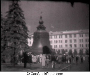 The Tsar Bell in Moscow Kremlin, vintage b&w 8mm footage.