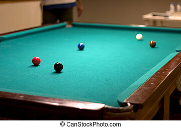 Pool table with colour balls on it.