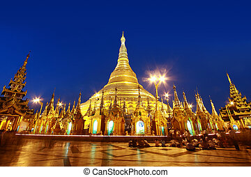 Shwedagon pagoda - dusk of Shwedagon pagoda in Yagon,...