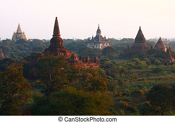 Pagodas , Bagan, Myanmar - Pagoda,Stupas and Payas at Bagan,...