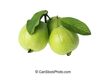 three guava with leaf isolated on white background