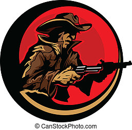 Cowboy Profile Aiming Guns Mascot - Graphic Mascot Image of...