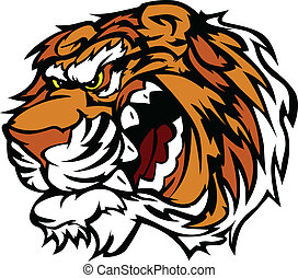 Tiger Cartoon Mascot with Snarling - Cartoon Tiger Head...