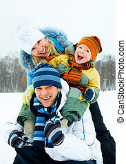 happy family - happy young family spending time outdoor in...