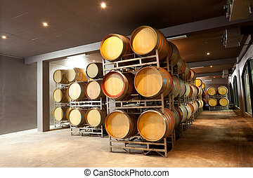 modern wine cellar with barrels