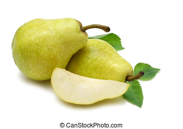 Pears - Bartlett Williams Pears with wedge isolated on pure...