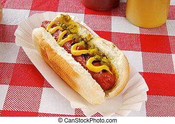 Hot dog with relish - A hot dog with relish on a picnic...