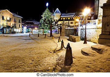 Illuminated Christmas Tree on Central Square of Megeve in...