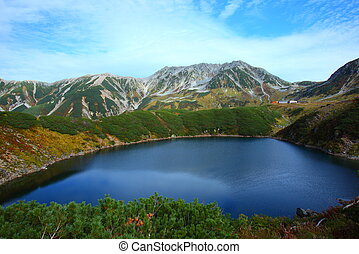 Mountain pond - Autumn of Mt.Tateyama and pond in japan