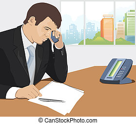 Man answering on the phone call drawn in Illustrator