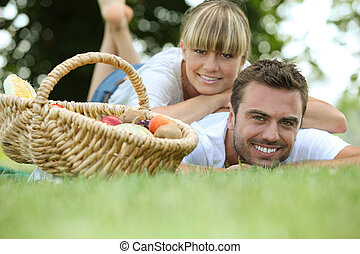 couple relaxing in the park