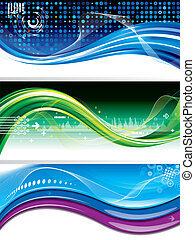 Technology Banners - Set of abstract technology wave...